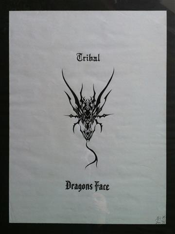 "Tusche Kalligrafie ""Tribal Dragons Face"" Gialombardo 1998"
